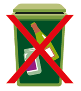 Picture of green bin for mixed recycling - no glass