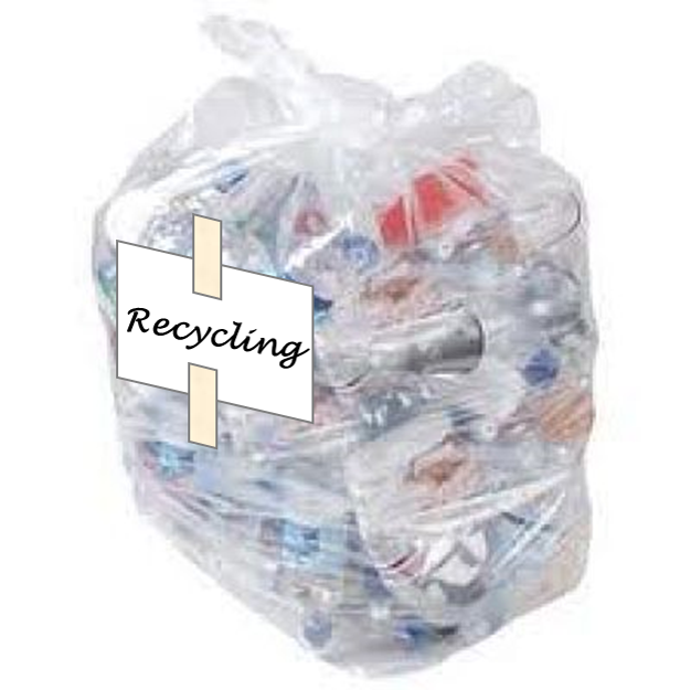 Picture of clear bag with excess mixed recycling in it